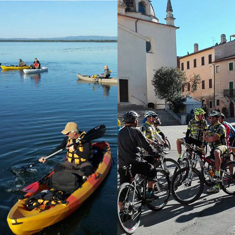 Sport: kayaking and cycling in Orbetello