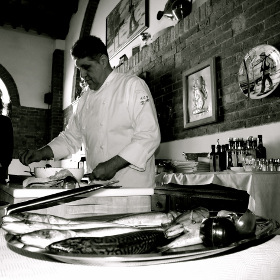 Poor Fish cooking show in Tuscany