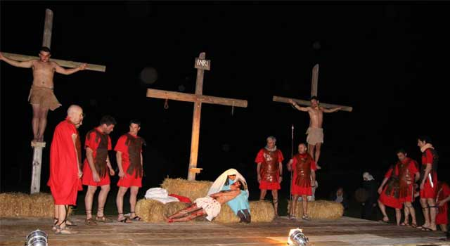 The re-enactment of the Via Crucis, Roselle, Grosseto, Tuscany